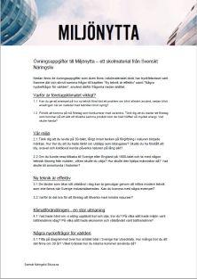 Uppgifter till Miljönytta - ett skolmaterial från Svenskt Näringsliv