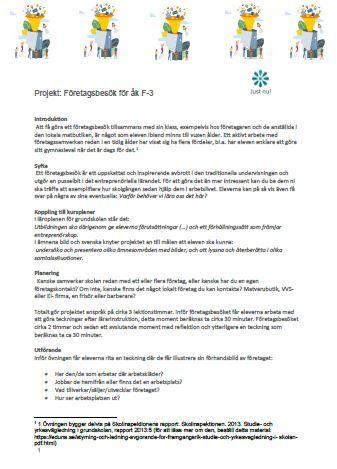 Projekt: Företagsbesök för åk. F-3