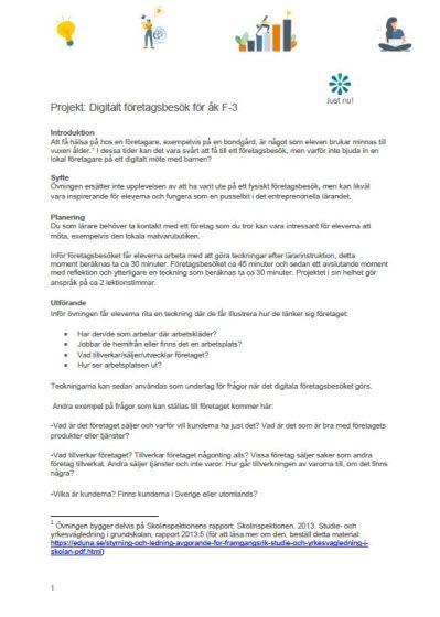 Projekt: Digitalt företagsbesök för åk. F-3