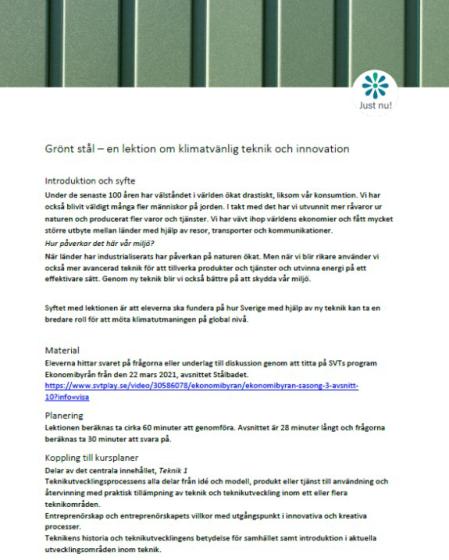 Grönt stål - en lektion om klimatvänlig teknik och innovation
