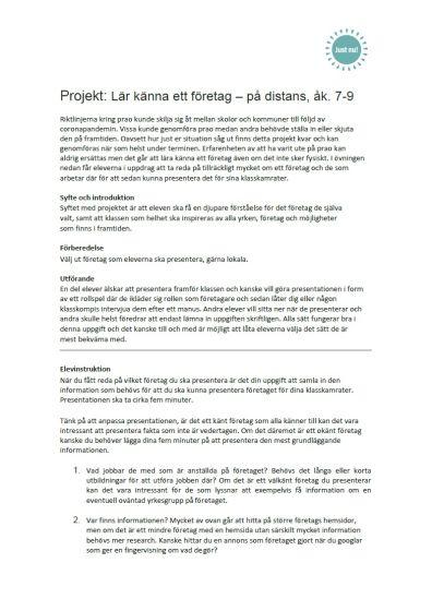 Projekt: Lär känna ett företag - på distans, åk. 7-9